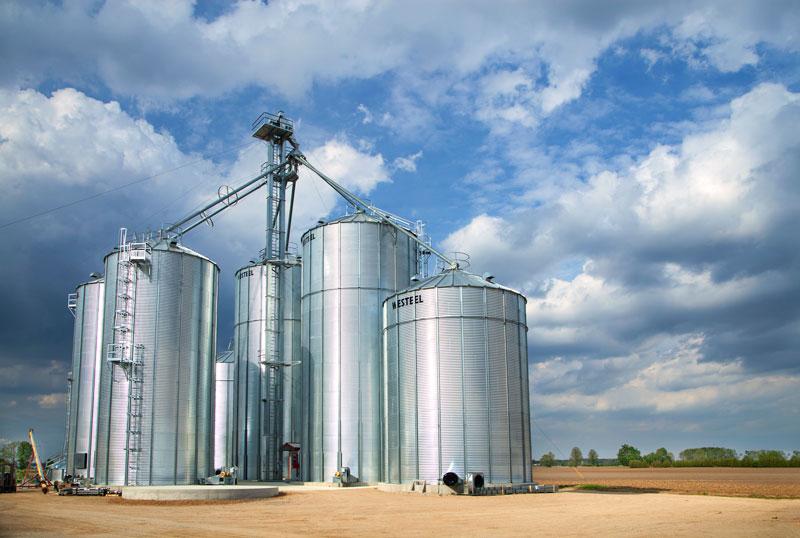 Westeel feed bins in field